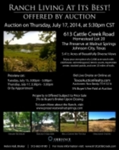 The Preserve at Walnut Springs - 5.41 Acre Homestead Lot