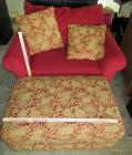 Red Oversized Chair with Rolling Ottoman