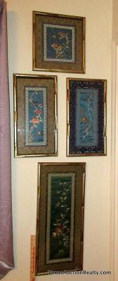 4pc Framed Oriental Art