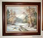 Framed Landscape Art Oil on Canvas - G. Whitman