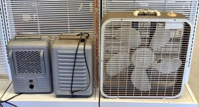 2 Portable Space Heaters and Box Fan