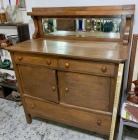Oak Buffet w/Sideboard w/Beveled Mirror
