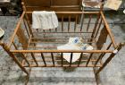 Antique Rocking Cradle w/Vintage Clothing