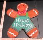 Metal Happy Holidays Gingerbread Man Sign