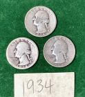 3 - 1934 Washington Quarters
