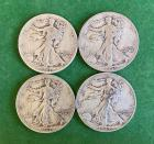 4- 1943 Walking Liberty Half Dollars