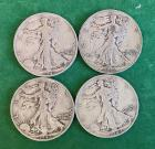 4- 1942S Walking Liberty Half Dollars