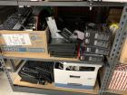 LARGE LOT OF MISC OFFICE SUPPLIES/EQUIPMENT: MISC MOUNTING BRACKETS, KEYBOARDS, CORDS, SOUND BLASTER AUDIGY FX EQUIPMENT(STILL IN BOX), HP PRINTER/PARTS, CISCO PHONES, STAMP BLOCKS, METAL FILE BOX, INTEGRA SCALE(STILL IN BOX), APC SERVER PARTS (STILL IN B