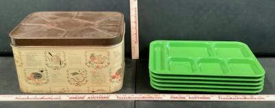 Lunch Trays and Tin Box
