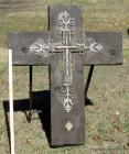 Large Decorative Wood Cross on Metal Stand