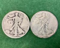 2 Walking Liberty Half Dollars - 1935 * 1935S