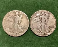 2- 1942 Walking Liberty Half Dollars