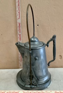 Heavy Antique Pewter Coffee Pot