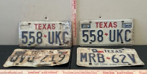 4 Embossed Texas License Plates