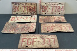 7 Embossed 1974 Texas License Plates