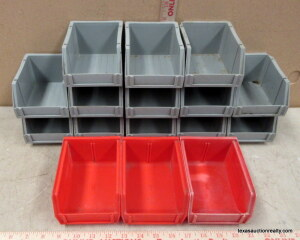 13 Gray, 3 Red Stackable Parts Trays