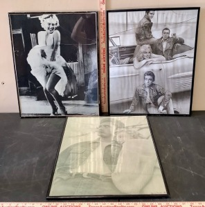 Framed James Dean and Marilyn Monroe Posters