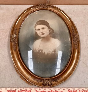 Antique Oval Frame with Convex Glass