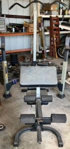 Weight Bench with Free Weights and Barbells