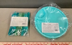 Pampered Chef Outdoor Party Plates & Utensil Set