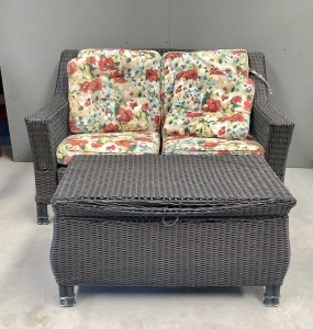 Outdoor Wicker Patio Love Seat and Storage Table