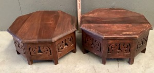 2 Wood Octagonal Plant Stands