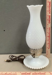 Milk Glass Hob Nail Bed Side Lamp