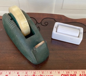 Vintage Heavy Duty Tape Dispenser, Vintage Porcelain Stamp Moistener