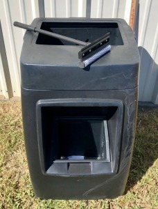New Gas Station Trash Can with Window Cleaner Reservoir