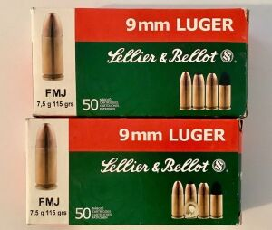 2 Boxes Lellier & Belloit 9mm Luger FMJ