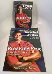 Signed Herschel Walker Hardcover and Poster - Breaking Free