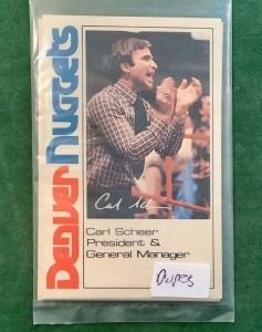 Carl Scheer Denver Nuggets Trading Card
