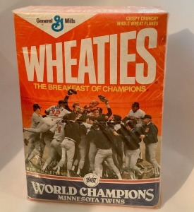 1987 World Champions Minnesota Twins Wheaties Box