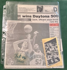 Autographed Newspaper Articles and Ticket Stubs