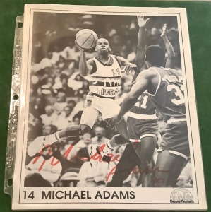 Michael Adams Denver Nuggets Autographed Poster
