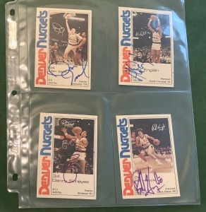4- Autographed NBA Denver Nuggets Trading Cards