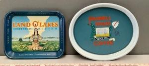 Land O Lakes and Maxwell House Tin Serving Trays