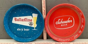 Ballantine and Schaefer Beer Tin Serving Trays