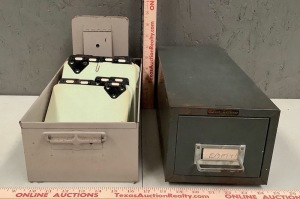 2 Small Metal Index Card File Boxes