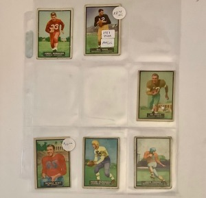 6- 1951 Topps Football Player Cards