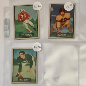 3- 1951 Topps Football Player Cards