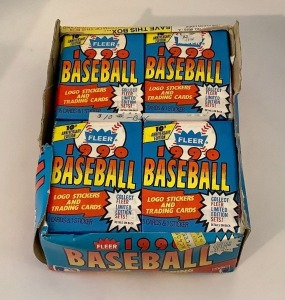 Fleer 1990 Box of Baseball Logo Stickers and Trading Cards