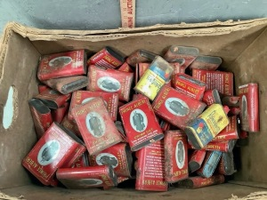 Box of Empty Prince Albert Tins