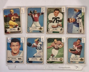 8 Bowman 1954 Football Player Cards
