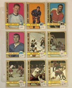 9 Hockey Player Cards c.1972-73