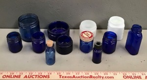 Vintage Blue Vicks Jars