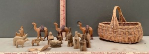 Carved Wood Nativity Figurines with Basket