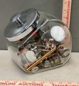 Glass Cookie Jar with Miniatures Assortment