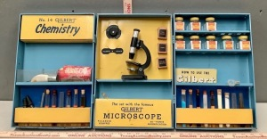Vintage Toy Microscope and Chemistry Set