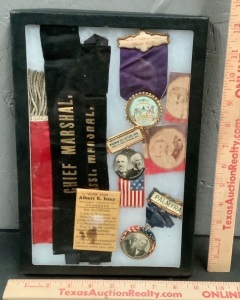 Antique Political Buttons and Ribbons in Case